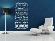 "Inspiring Wall Quote ""Life is a camera.."" Wall Art Sticker, Vinyl, Decal."